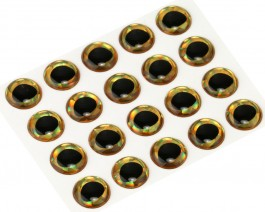 3D Epoxy Fish Eyes, Holographic Gold, 10 mm