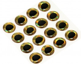 3D Epoxy Fish Eyes, Holographic Gold, 12 mm
