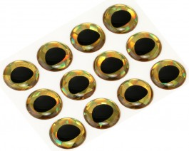3D Epoxy Fish Eyes, Holographic Gold, 15 mm
