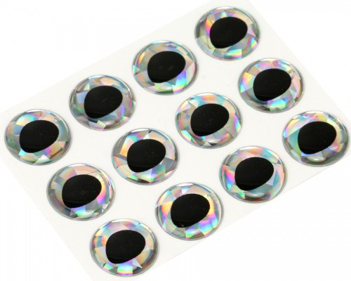 3D Epoxy Fish Eyes, Holographic Silver, 15 mm