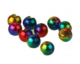 Tungsten Beads, Slotted, Metallic Rainbow, 4.0 mm