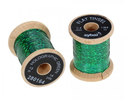 Flat Tinsel, 0.4 mm, Holographic Green